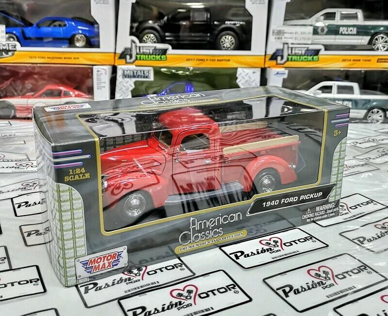 1:24 Ford Pick Up 1940 Rojo Motor Max American Classics C Caja