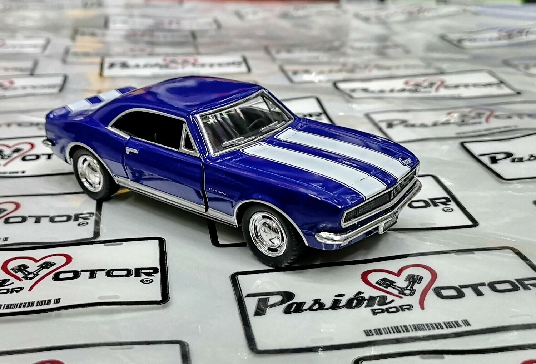 1:37 Chevrolet Camaro Z-28 1967 Azul Franjas Blancas Kinsmart En Display / a Granel 1:32