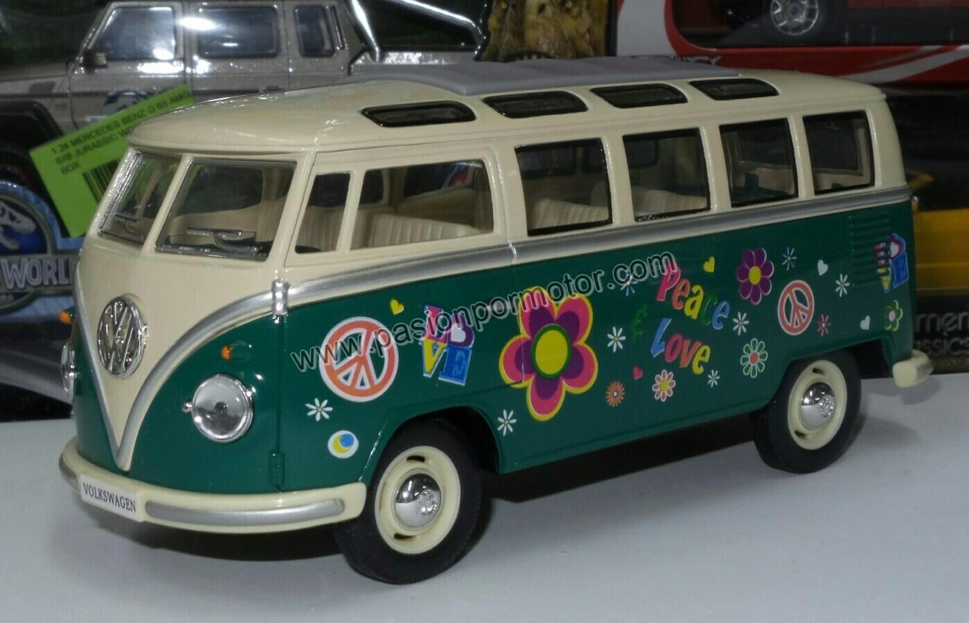 1:24 Volkswagen Combi Bus 1962 Verde C Beige Hippie Kinsmart En Display / A Granel