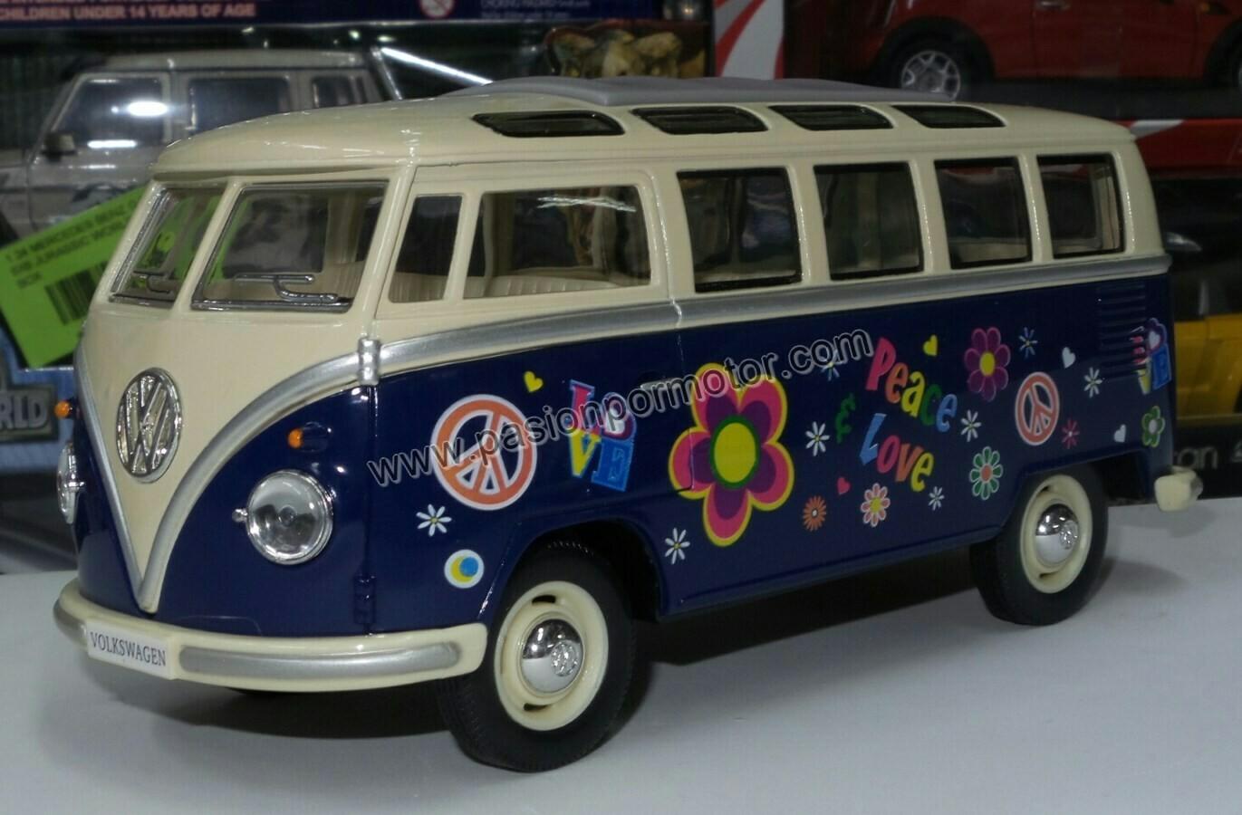 1:24 Volkswagen Combi Bus 1962 Azul C Beige Hippie Kinsmart En Display / A Granel