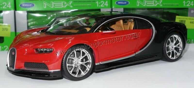 1:18 Bugatti Chiron 2016 Rojo Con Negro Bburago