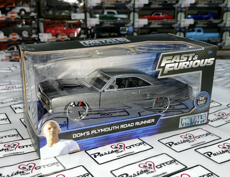 1:24 Plymouth Road Runner 1970 Dom's Gris Rapido Y Furioso 2 Jada Toys En Caja