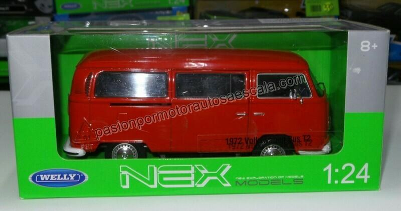 1:24 Volkswagen Bus T2 1972 Rojo Welly Combi C Caja
