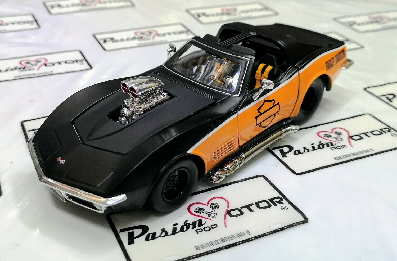 1:24 Chevrolet Corvette Blow Engine 1970 Negro Naranja Maisto Harley Dvidson En Display / A Granel