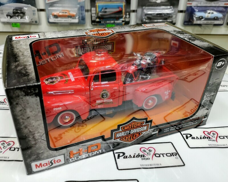 1:24 Ford F1 Pick Up 1948 Bomberos + 1:24 Harley Davidson Knucklehead 1936 de Maisto H-D