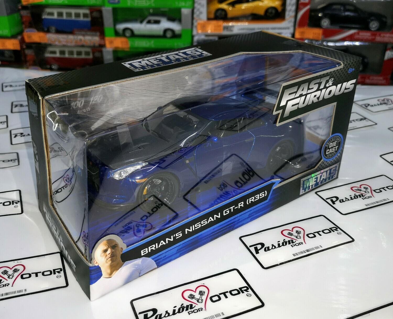 1:24 Nissan GT-R R35 2009 Brian's Azul Rapido Y Furioso 7 Jada Toys C Caja