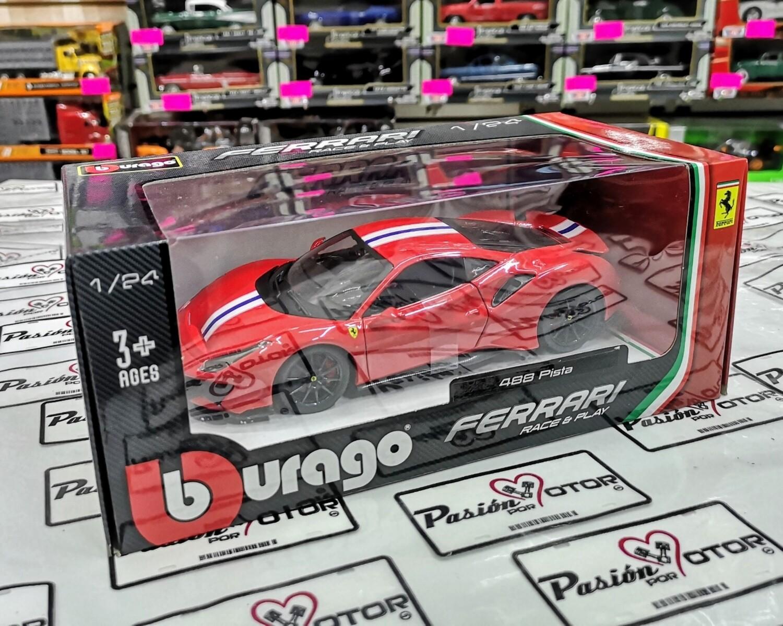 1:24 Ferrari 488 Pista 2018 Rojo Bburago En Caja