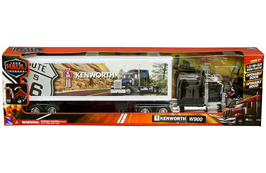 1:32 Kenworth W900 Aerocab Negro Con Trailer Caja Seca Blanco Route 66 New Ray
