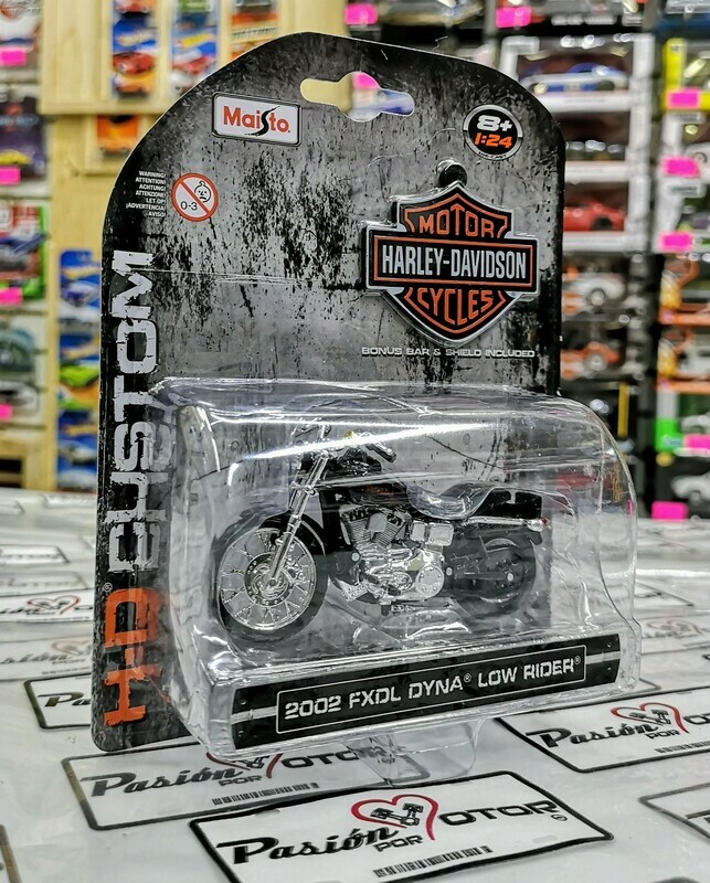 1:24 Harley Davidson FXDL Dyna Low Rider 2002 Negro Maisto H-D Custom