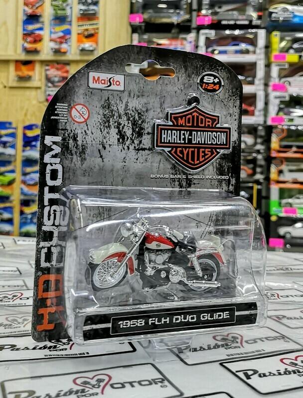1:24 Harley Davidson FLH Duo Glide 1958 Blanco y Rojo Maisto H-D Custom