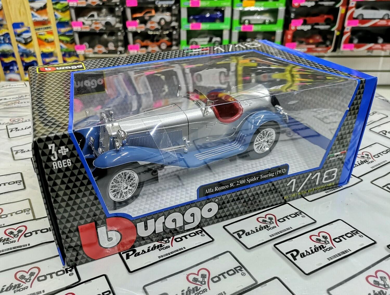 1:18 Alfa Romeo 8C 2300 Spider Touring 1932 Azul y Plata Bburago