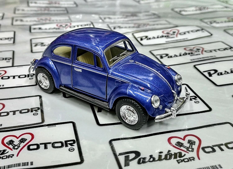 1:32 Volkswagen Beetle 1967 Azul Marino De Fricción Kinsmart En Display / a Granel