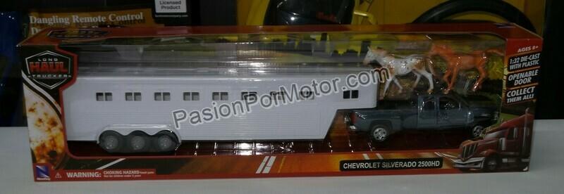 1:32 Chevrolet Silverado 2500 HD Cabina Extendida 2008  C Remolque Trailer P Caballos New Ray