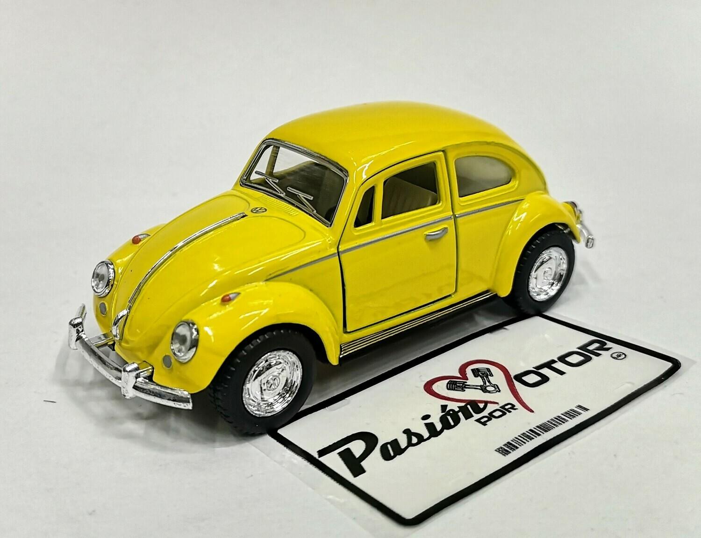 1:32 Volkswagen Beetle 1967 Amarillo De Fricción Kinsmart En Display / a Granel