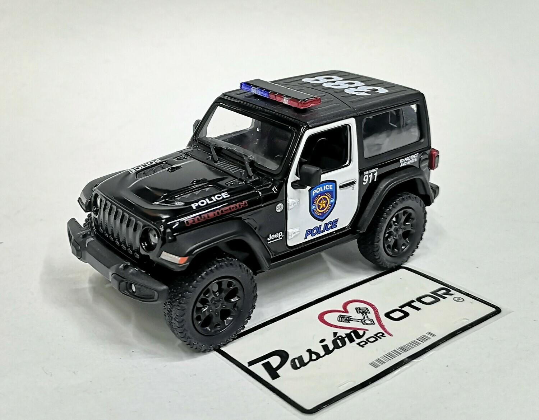 1:34 Jeep Wrangler Rubicon Hard Top 2018 Police Patrulla  Kinsmart En Display / A Granel 1:32