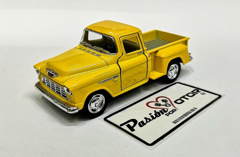 Kinsmart 1:38 Chevrolet 3100 Stepside Pick Up 1955 Amarillo Display a Granel 1:32