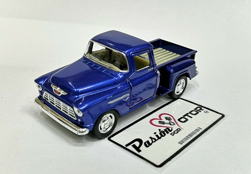 1:38 Chevrolet 3100 Stepside Pick Up 1955 Azul  Kinsmart En Display / A Granel Chevy 1:32