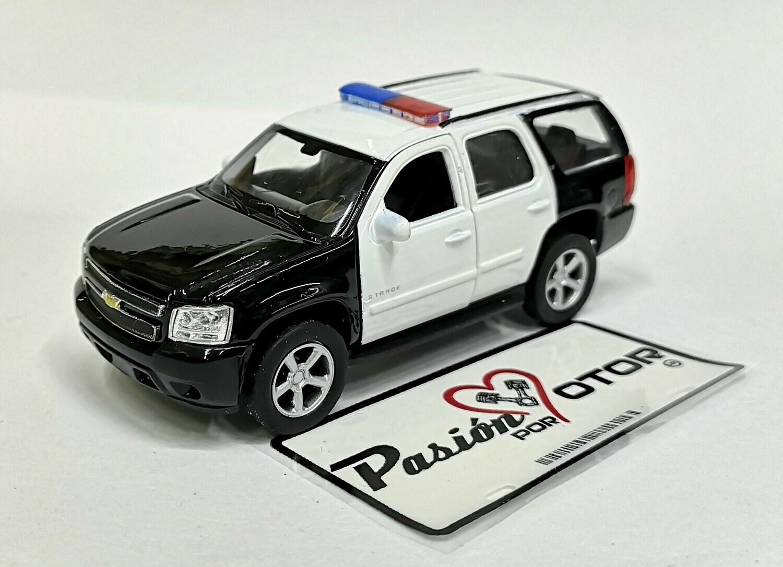 1:44 Chevrolet Tahoe 2008 Patrulla Police Blanco Negro de Welly En Display a Granel 1:43
