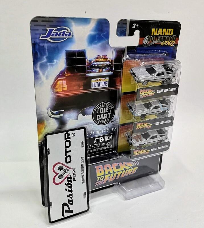 1:108 DeLorean Time Machine Back To The Future Volver al Futuro Set 3 Piezas Jada Toys Nano Hollywood Rides