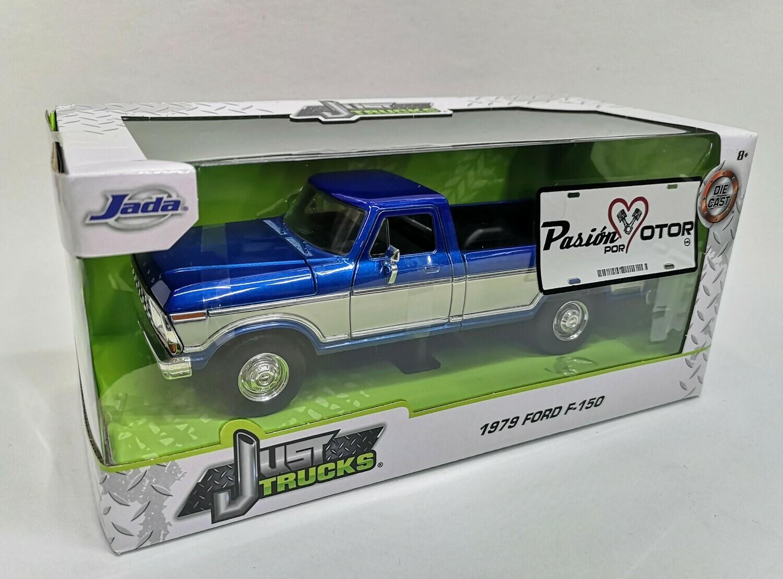 1:24 Ford F-150 Pick Up Caja Larga 1979 Bitono Azul Beige Jada Toys - Just Trucks En Caja
