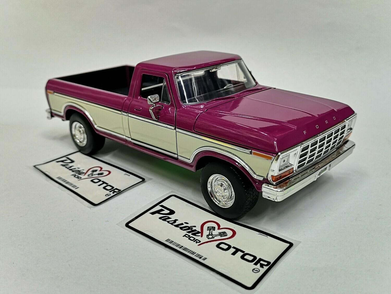 1:24 Ford F-150 Pick Up Caja Larga 1979 Bitono Purpura Beige Jada Toys - Just Trucks En Display / A Granel