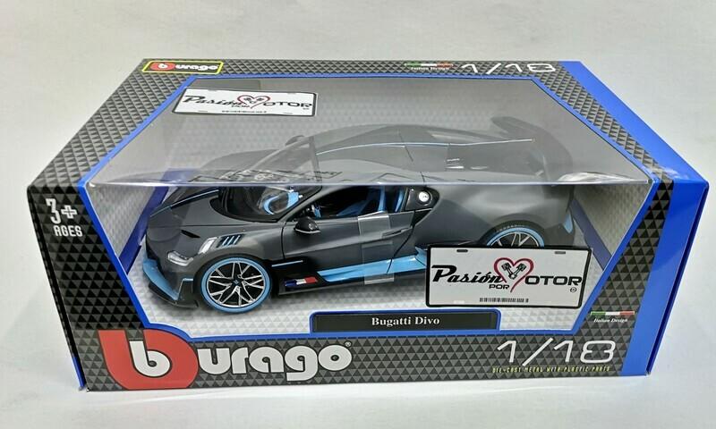 1:18 Bugatti Divo 2018 Gris y Azul Bburago