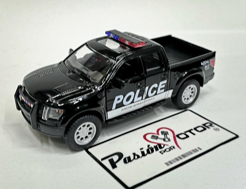 1:46 Ford F-150 SVT Raptor Super Crew 2013 Patrulla Policia Police Kinsmart En Display a Granel 1:43