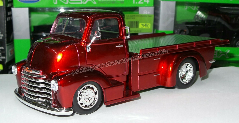 1:24 Chevrolet COE Grua Plataforma 1952 Rojo Brillante Jada Toys Just Trucks Con Caja