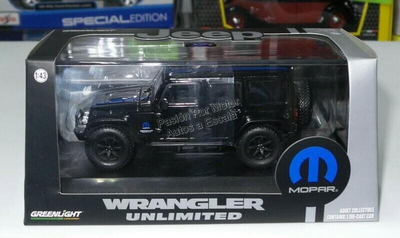 1:43 Jeep Wrangler Unlimited Techo Duro 2015 Negro Mopar Greenlight