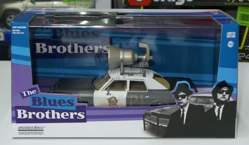 1:43 Dodge Monaco 1974 Patrulla Bluesmobile The Blues Brothers Hermanos Caradura de Greenlight