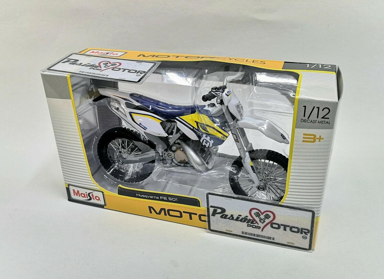 1:12 Husqvarna FE 501 Blanco con Gráficos Moto Maisto MotorCycles