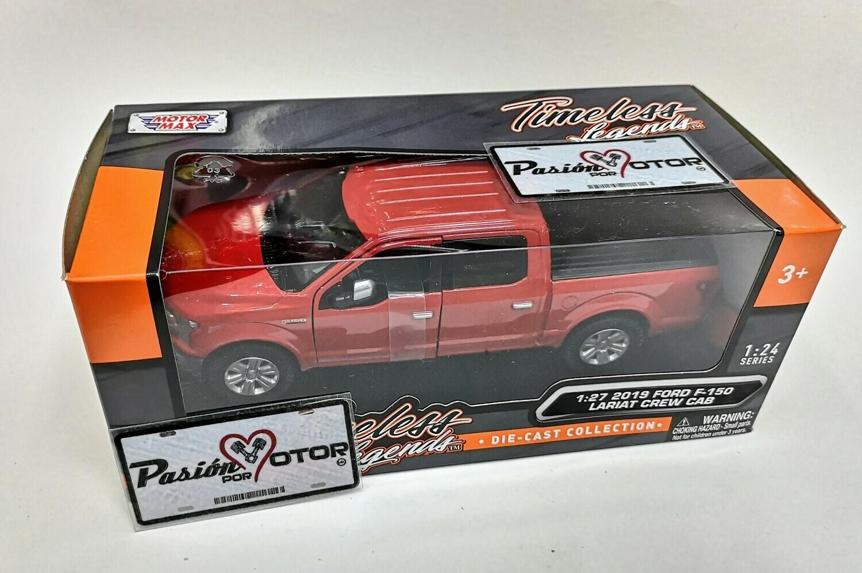 1:27 Ford F-150 Crew Cab Lariat 2019 Rojo Motor Max En Caja 1:24