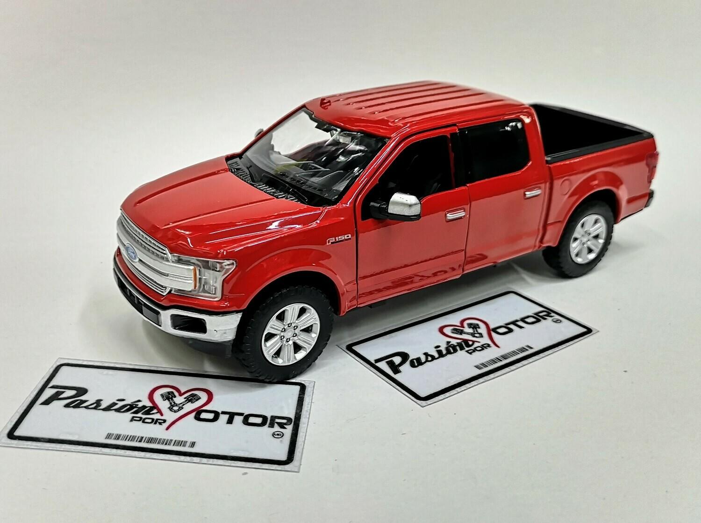 1:27 Ford F-150 Crew Cab Lariat 2019 Rojo Motor Max En Display / A Granel 1:24