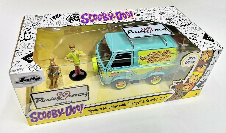 1:24 The Mystery Machine - Maquina del Misterio con Figuras de Shaggy & Scooby Doo Jada Toys Hollywood En Caja