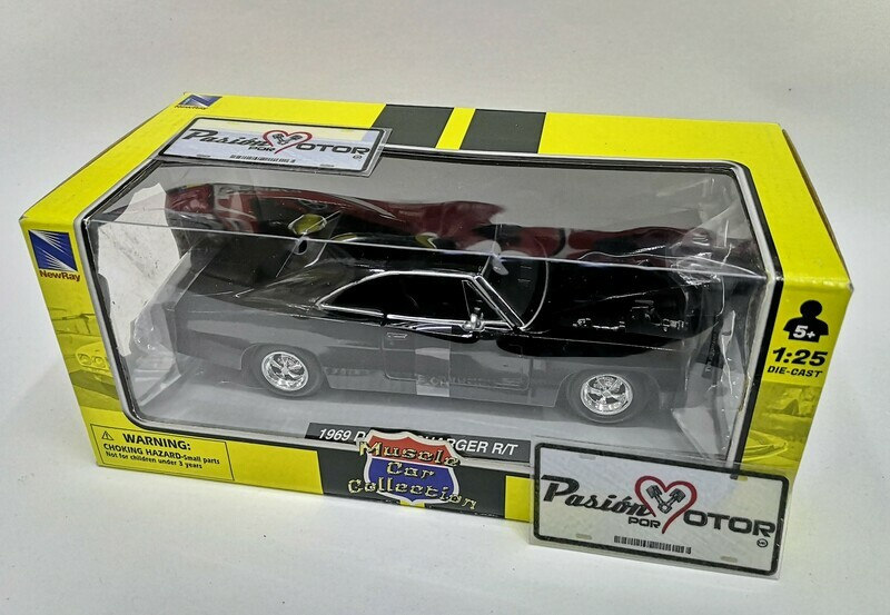 1:25 Dodge Charger R/T 1969 Negro New Ray Muscle Car Collection C Caja 1:24