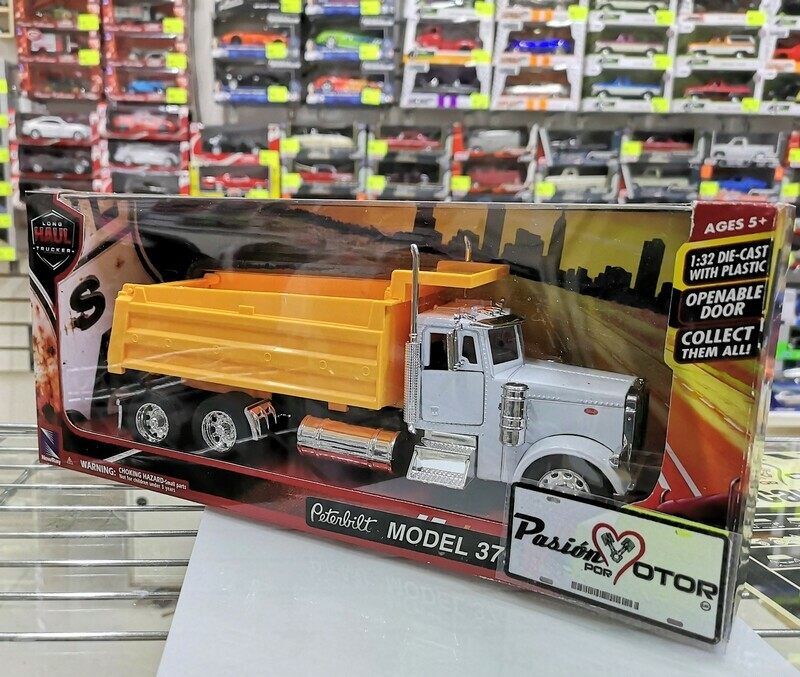 1:32 Peterbilt Model 379 1987 Torton Gondola de Volteo Blanco Amarillo New Ray C Caja
