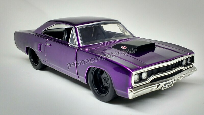 1:24 Plymouth Road Runner 1970 Purpura Jada Toys Big Time Muscle En Display / A granel