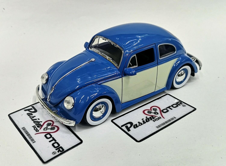 1:24 Volkswagen Beetle 1959 Azul C Beige Rin Baby Moon Jada Toys Big Time Kustoms C Caja
