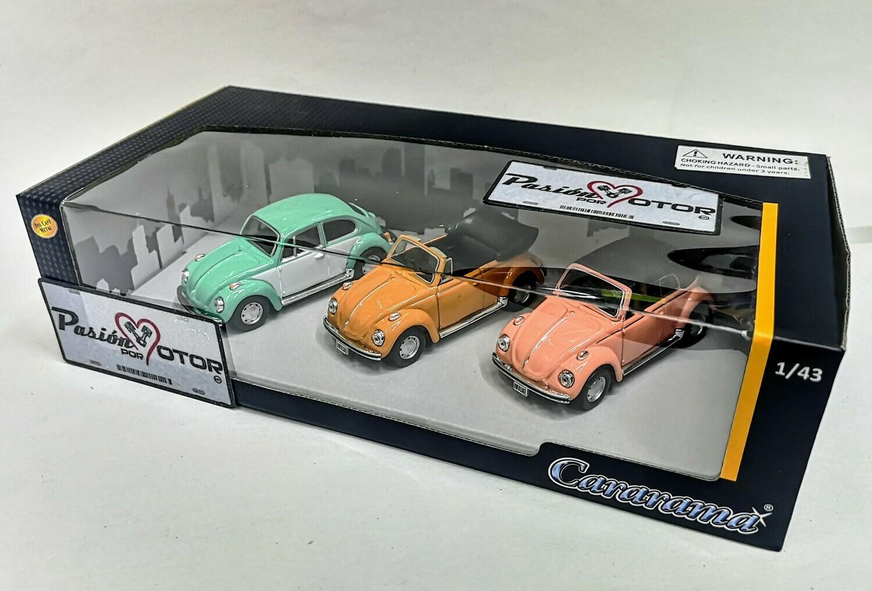 1:43 Set de Volkswagen Beetle 1303 1973 Sedan Cabriolet Cabrio Soft Top Cararama
