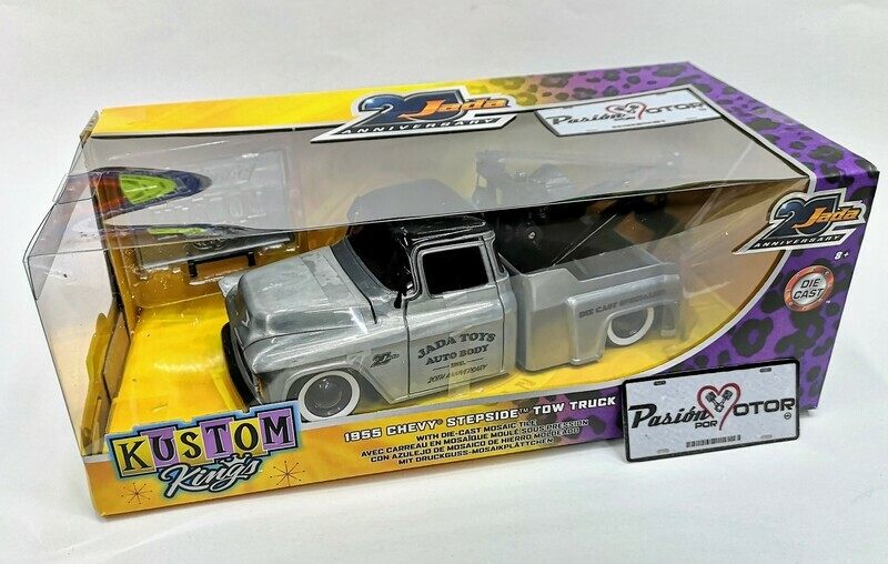 1:24 Chevrolet Stepside Tow Truck 1955 Grua de Arrastre Jada Toys 20 Anniversary - Kustom King