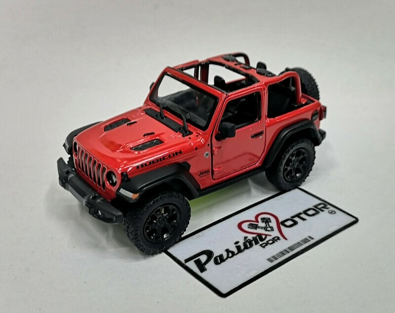 1:34 Jeep Wrangler Rubicon Open Top 2018 Rojo  Kinsmart En Display / A Granel 1:32