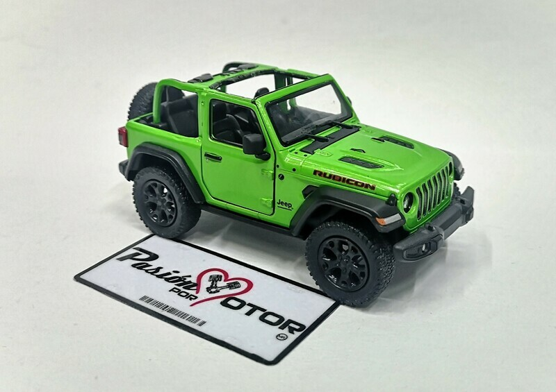 1:34 Jeep Wrangler Rubicon Open Top 2018 Verde  Kinsmart En Display / A Granel 1:32