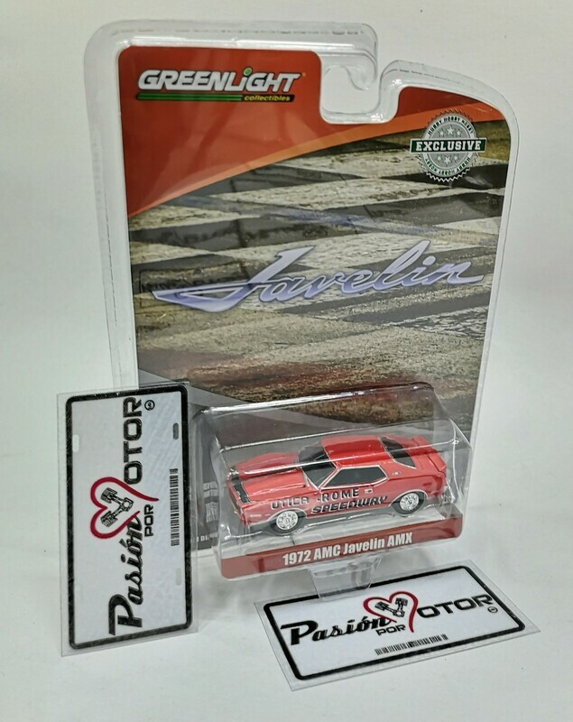 1:64 AMC Javelin AMX 1972 Rojo Utica Rome Speedway Greenlight Exclusive