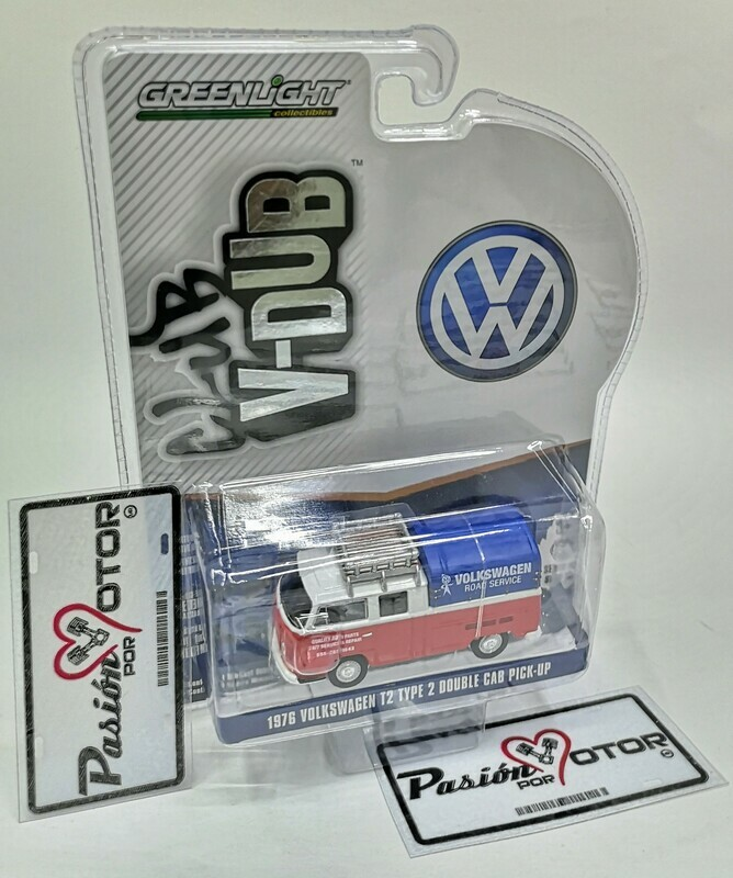 1:64 Volkswagen Type 2 Double Cab Pick Up 1976 Servicio de Carretera VW Combi Greenlight Club V-Dubs Serie 10