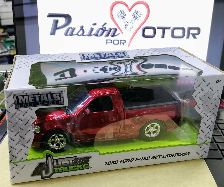 1:24 Ford F-150 SVT Lightning 1999 Rojo Candy c Franjas Negras Jada Toys Just Trucks En Caja Individual