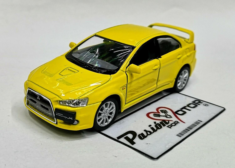 1:36 Mitsubishi Lancer Evolution X 2008 Amarillo Kinsmart En Display a Granel 1:32