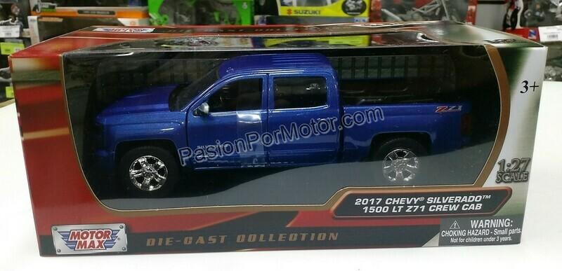 1:27 Chevrolet Silverado 1500 LT Z71 Crew Cab 2017 Azul Pick Up Motor Max C Caja 1:24