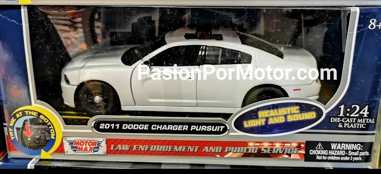 1:24 Dodge Charger Pursuit 2011 Blanco Patrulla C Luz y Sonido Motor Max En Caja