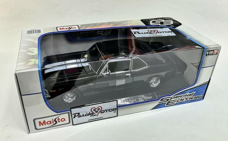 1:18 Chevrolet Nova SS Coupe 1970 Negro Con Franjas Blancas Maisto Special Edition