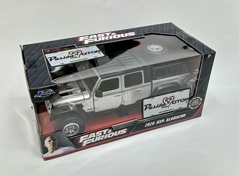 1:24 Jeep Gladiator Pick Up 2020 Plata Rapido Y Furioso 9 Jada Toys Pick Up Con Caja